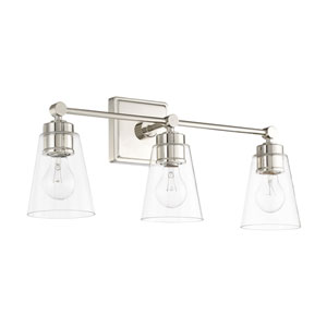 Polished Nickel 23-Inch Three-Light Bath Vanity