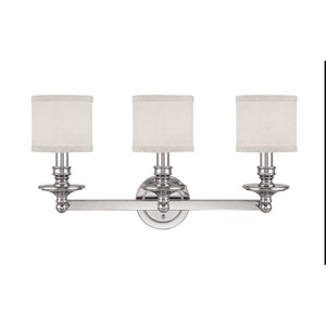 Midtown Polished Nickel Three-Light Bath Fixture