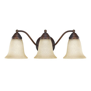 Burnished Bronze Three-Light Vanity Fixture