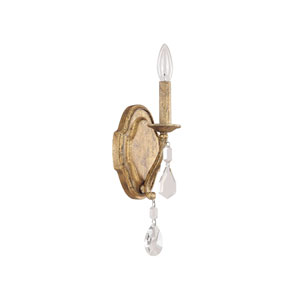 Blakely Antique Gold One Light Sconce with Crystals