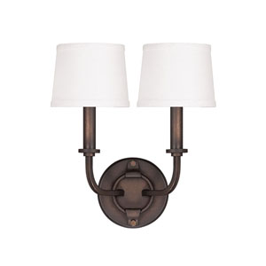 Chastain Tobacco Two Light Sconce with Shades