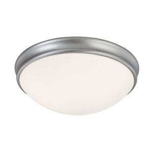 Matte Nickel Three-Light Flush Mount with White Glass