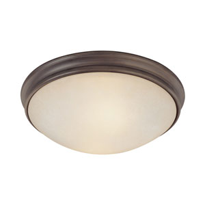 Oil Rubbed Bronze Two-Light Flush Mount with Mist Scavo Glass