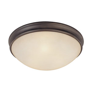 Oil Rubbed Bronze Three-Light Flush Mount with Mist Scavo Glass