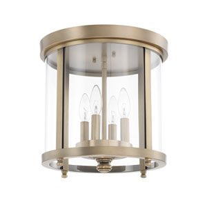 Aged Brass Four-Light Flush Mount