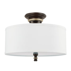 Asher Champagne Bronze Three-Light Semi-Flush