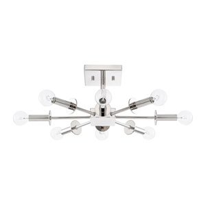 City Polished Nickel Eight-Light Semi Flush