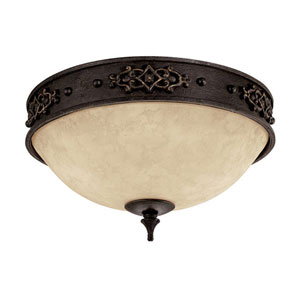 River Crest Rustic Iron Two-Light Flush Mount