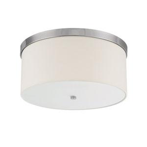 Studio Polished Nickel Three-Light Flush Mount with White Shade