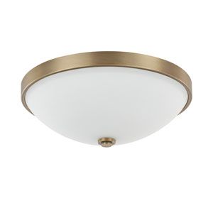 Aged Brass Two-Light Flush Mount