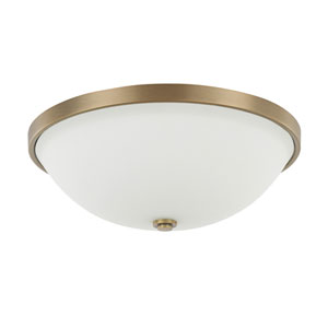 Aged Brass Three-Light Flush Mount