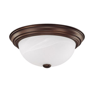 Burnished Bronze Two-Light Ceiling Fixture - 13 Inches Wide