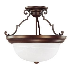 Burnished Bronze Three-Light Semi-Flush Fixture