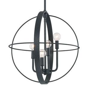 Black Iron Four-Light 18.5-Inch Wide Pendant