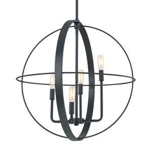 Black Iron Four-Light 23-Inch Wide Pendant
