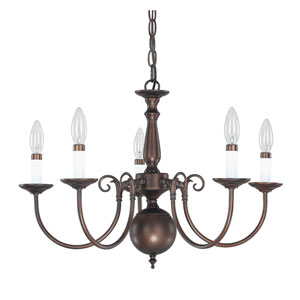 Burnished Bronze Five-Light Chandelier