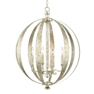 Charleston Silver and Gold Leaf Four-Light Pendant
