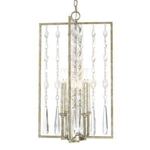 Charleston Silver and Gold Leaf Four-Light Foyer