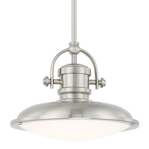 Brushed Nickel One-Light LED 12-Inch Wide Pendant