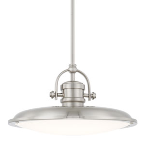 Brushed Nickel One-Light LED 16--Inch Wide Pendant