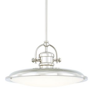 Polished Nickel One-Light LED 16-Inch Wide Pendant