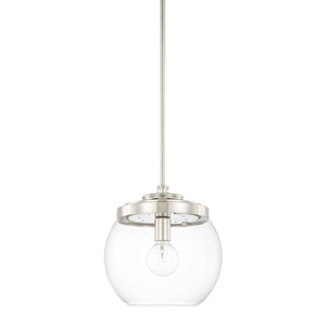 Mid-Century Polished Nickel One-Light Pendant