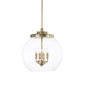Mid-Century Aged Brass Four-Light Pendant