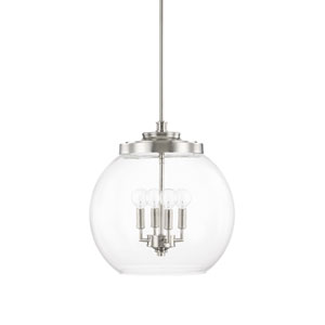 Mid-Century Polished Nickel Four-Light Pendant