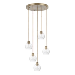 Mid-Century Aged Brass Five-Light Pendant