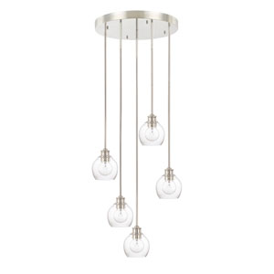Mid-Century Polished Nickel Five-Light Pendant