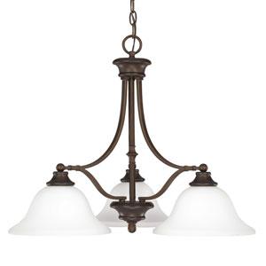 Belmont Burnished Bronze Three-Light Chandelier with Soft White Glass