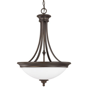 Belmont Burnished Bronze Three-Light Pendant with Soft White Glass