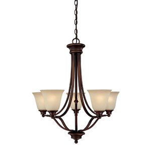 Belmont Burnished Bronze Five-Light Chandelier