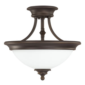 Belmont Burnished Bronze Two-Light Semi-Flush Mount with Soft White Glass
