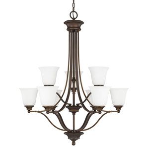 Belmont Burnished Bronze Nine-Light Chandelier with Soft White Glass
