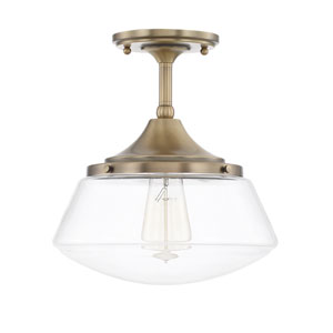 Baxter Aged Brass One-Light Semi Flush