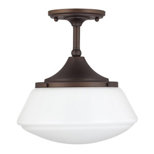 Burnished Bronze One-Light Semi-Flush with Milk Glass