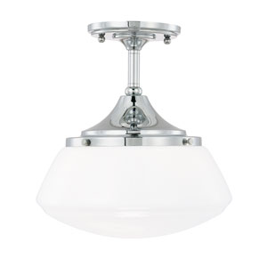 Schoolhouse Chrome One-Light Semi-Flush Mount with Milk Glass