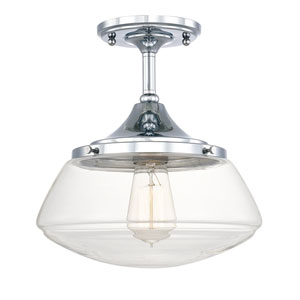 Schoolhouse Chrome One-Light Semi-Flush Mount with Clear Glass