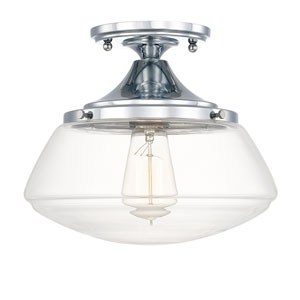Schoolhouse Chrome One-Light Clear Glass Semi-Flush Mount