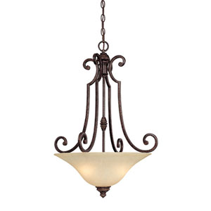 Barclay Brown Three-Light Bowl Pendant