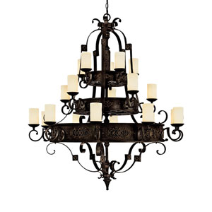 River Crest Rustic Iron Twenty-Light Chandelier