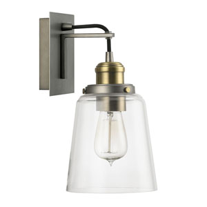 Graphite and Aged Brass One-Light Wall Sconce with Clear Glass