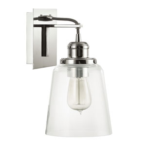 Polished Nickel One-Light Wall Sconce with Clear Glass