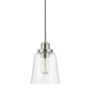 Brushed Nickel One-Light Mini-Pendant with Clear Glass