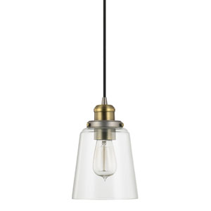 Graphite and Aged Brass One-Light Mini-Pendant with Clear Glass