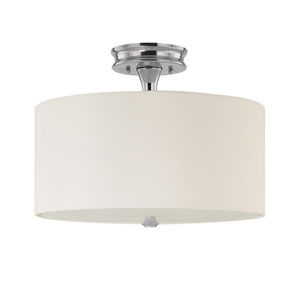 Studio Polished Nickel Three-Light Semi-Flush with White Shade