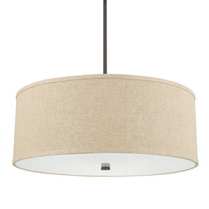 Midtown Burnished Bronze Four-Light Pendant with Tan Fabric Shade