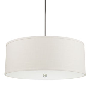 Midtown Polished Nickel Four-Light Pendant with White Fabric Shade
