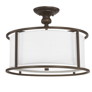 Midtown Burnished Bronze Three-Light Semi Flush